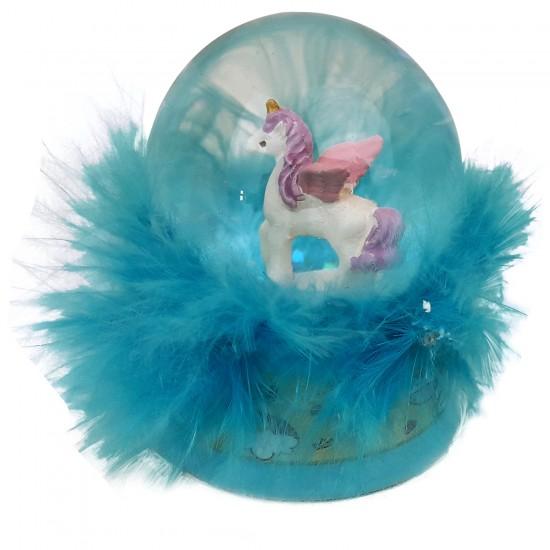 Unicorn Mavi Tüylü Kar Küresi