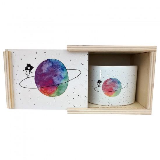 Satürnlü Kiz Kutulu Tasarim Kupa