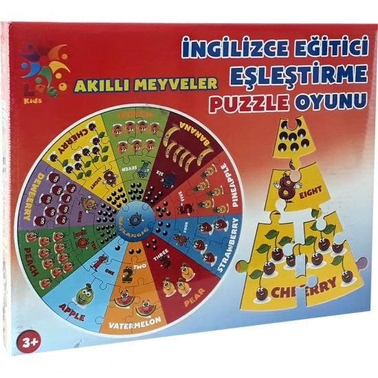 Akilli Meyveler İngilizce Eşleştirme Puzzle Oyunu